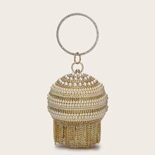 Bolsa clutch con manija con perla artificial
