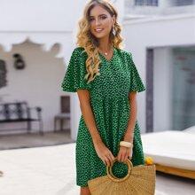 Kleid mit V Kragen und Bluemchen Muster