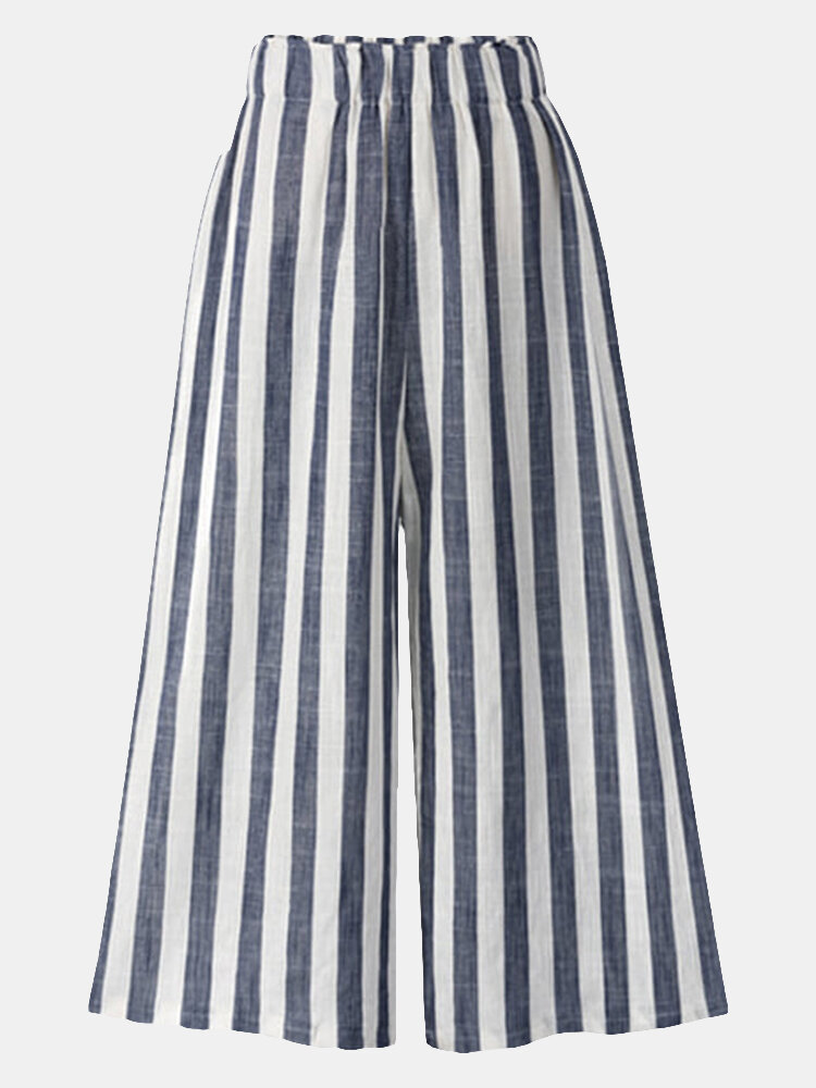 Women Stripe Loose Elastic Waist Wide Leg Casual Pants