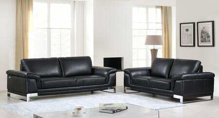 343883 73'' X 39'' X 32'' Modern Black Leather Sofa and