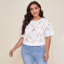 T-Shirt mit geometrischem Muster und sehr tief angesetzter Schulterpartie