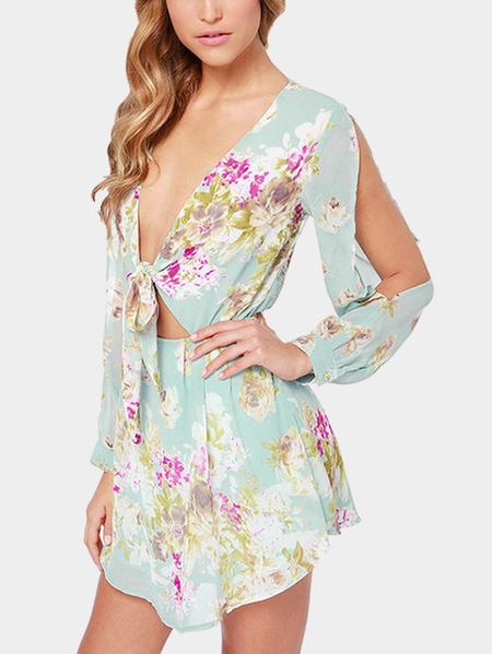 Yoins Plunge Tie Up Front Cold Shoulder Random Floral Pattern Dress with Lining