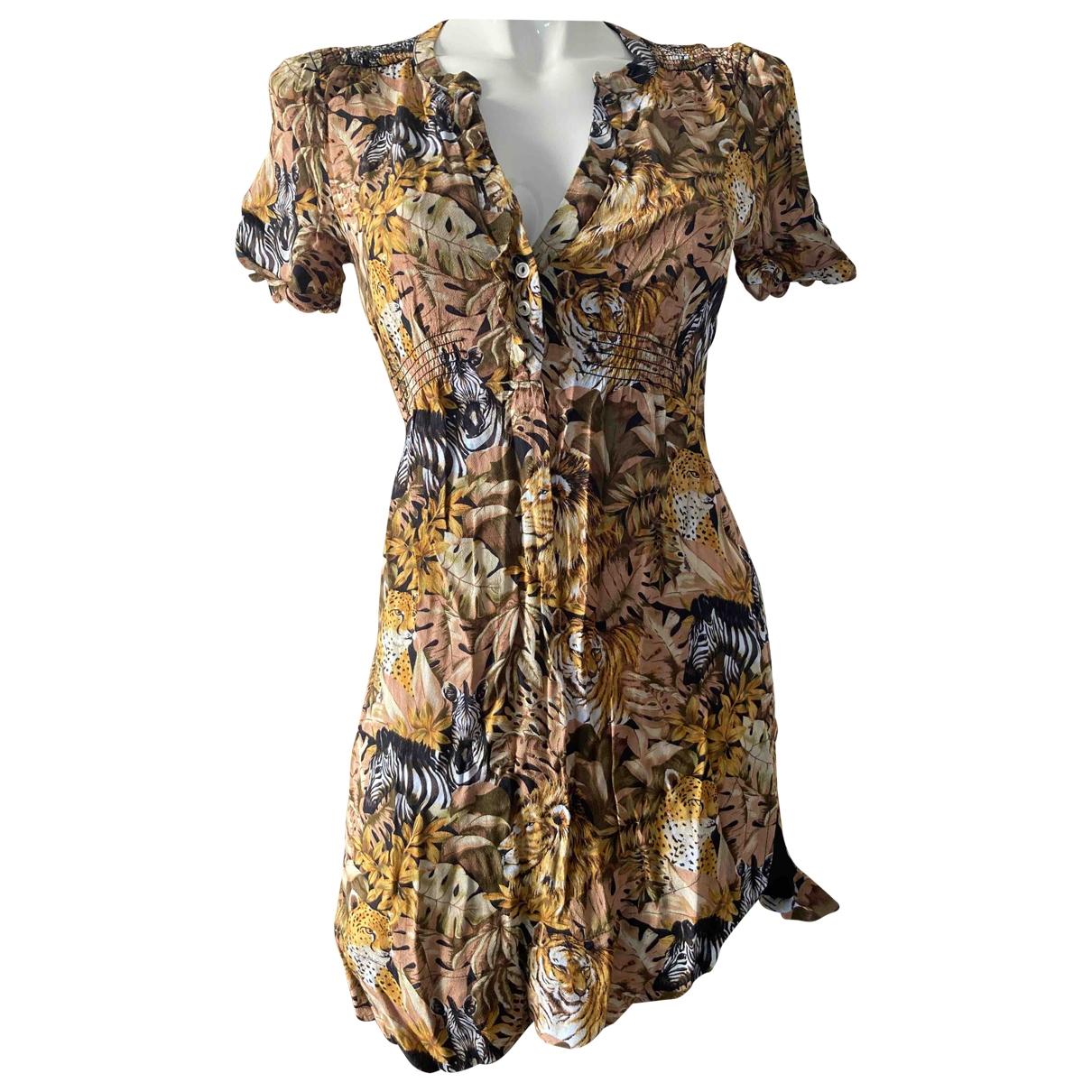 Maje \N Kleid in  Gelb Viskose