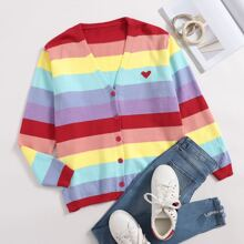 Rainbow Striped And Heart Print Button Front Cardigan