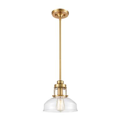 46575/1 Manhattan Boutique 1-Light Mini Pendant in Brushed Brass with Clear