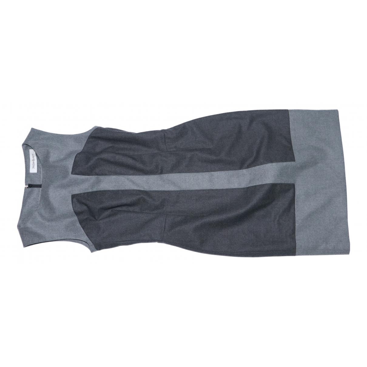 Yves Saint Laurent \N Kleid in  Grau Wolle
