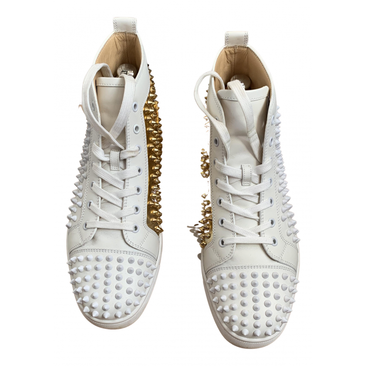 Christian Louboutin Louis junior spike Sneakers in  Weiss Leder