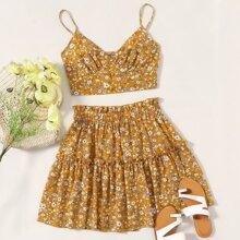 Conjunto top de tirantes floral de margarita con falda