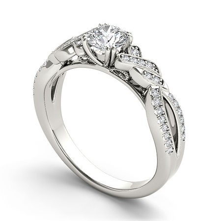 Womens 3/4 CT. T.W. Genuine White Diamond 14K Gold Engagement Ring, 6 1/2 , No Color Family