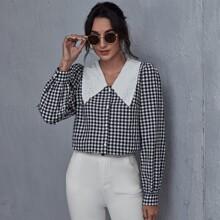 Bluse mit Kontrast Kragen, Puffaermeln und Karo Muster