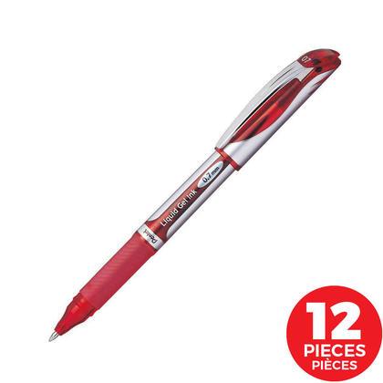 Pentel EnerGel Liquid Gel Rolling Ballpoint Pen, 0.7 mm, 12/Box - Red
