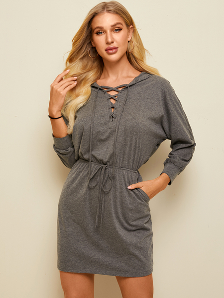 YOINS Grey Drawstring Criss-cross Lace-up V-neck Long Sleeves Dress