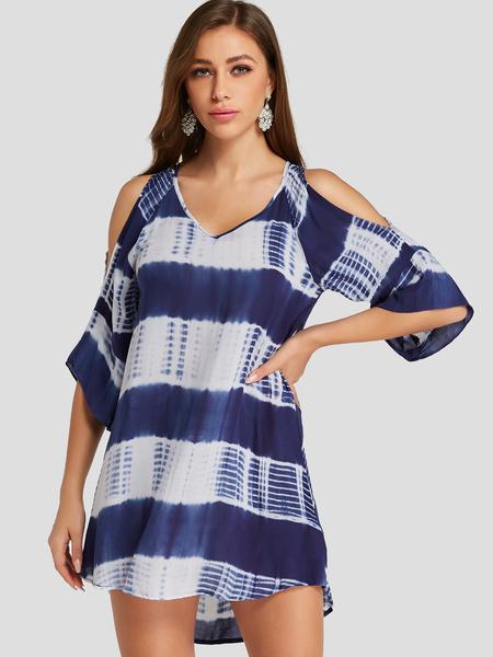 YOINS Blue Tie Dye V-neck Design Cold shoulder Mini Dress