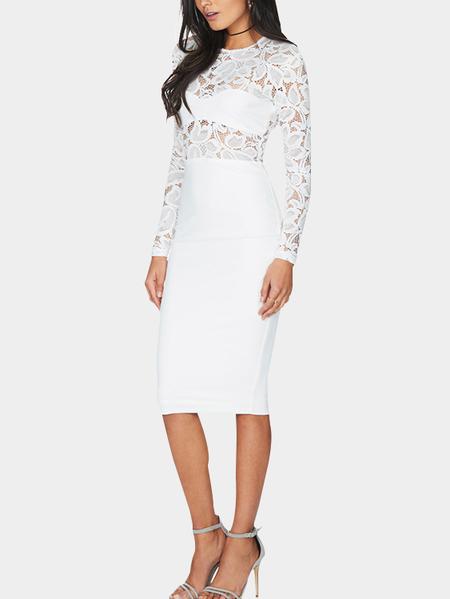 Yoins White Delicate Lace Insert Bodycon Midi Dress