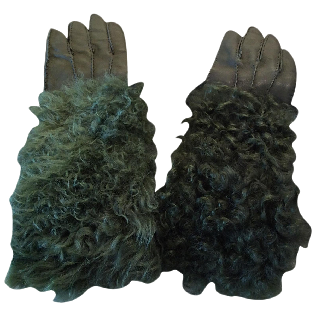 Dolce & Gabbana \N Green Leather Gloves for Women 7.5 Inches