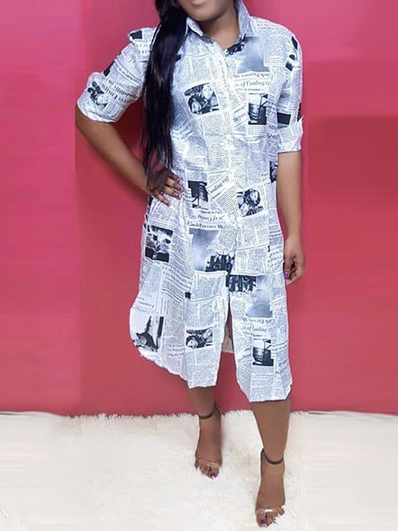 Ericdress Letter Lapel Button Short Sleeve Long Fashion Blouse