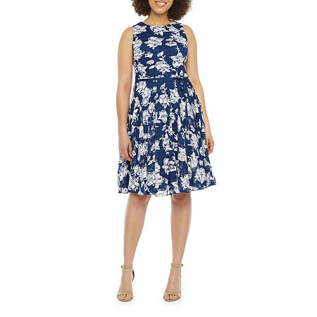Danny & Nicole Sleeveless Floral Lace Fit & Flare Dress, 18 , Blue