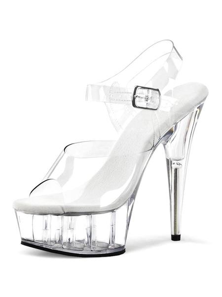 Milanoo High Heel Sexy Sandals White PU Leather Peep Toe Sexy Shoes