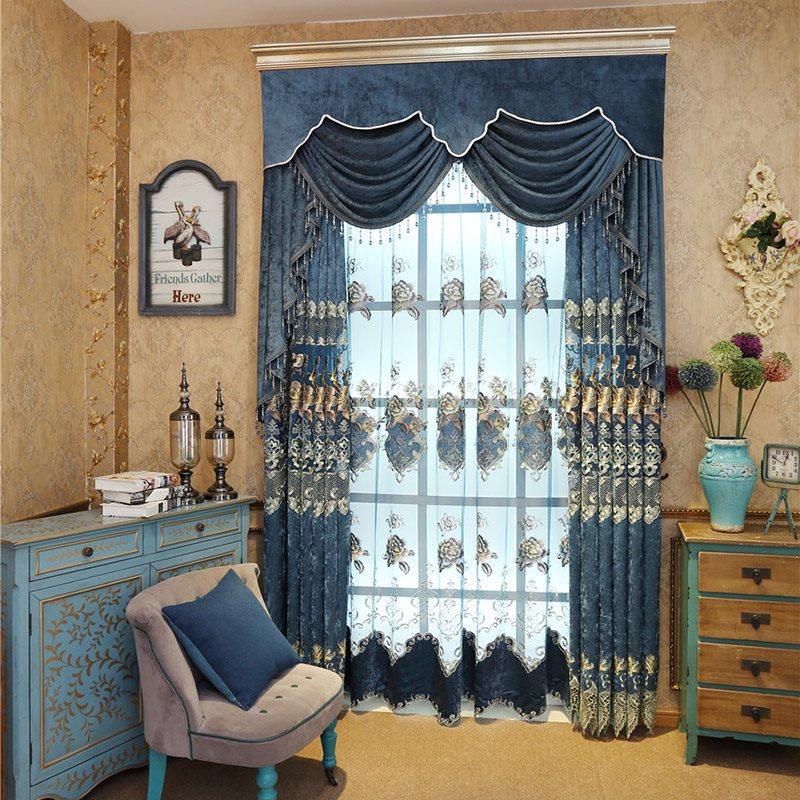 Elegant Embroidered Floral Blue Color Decorative Custom Sheer Curtains