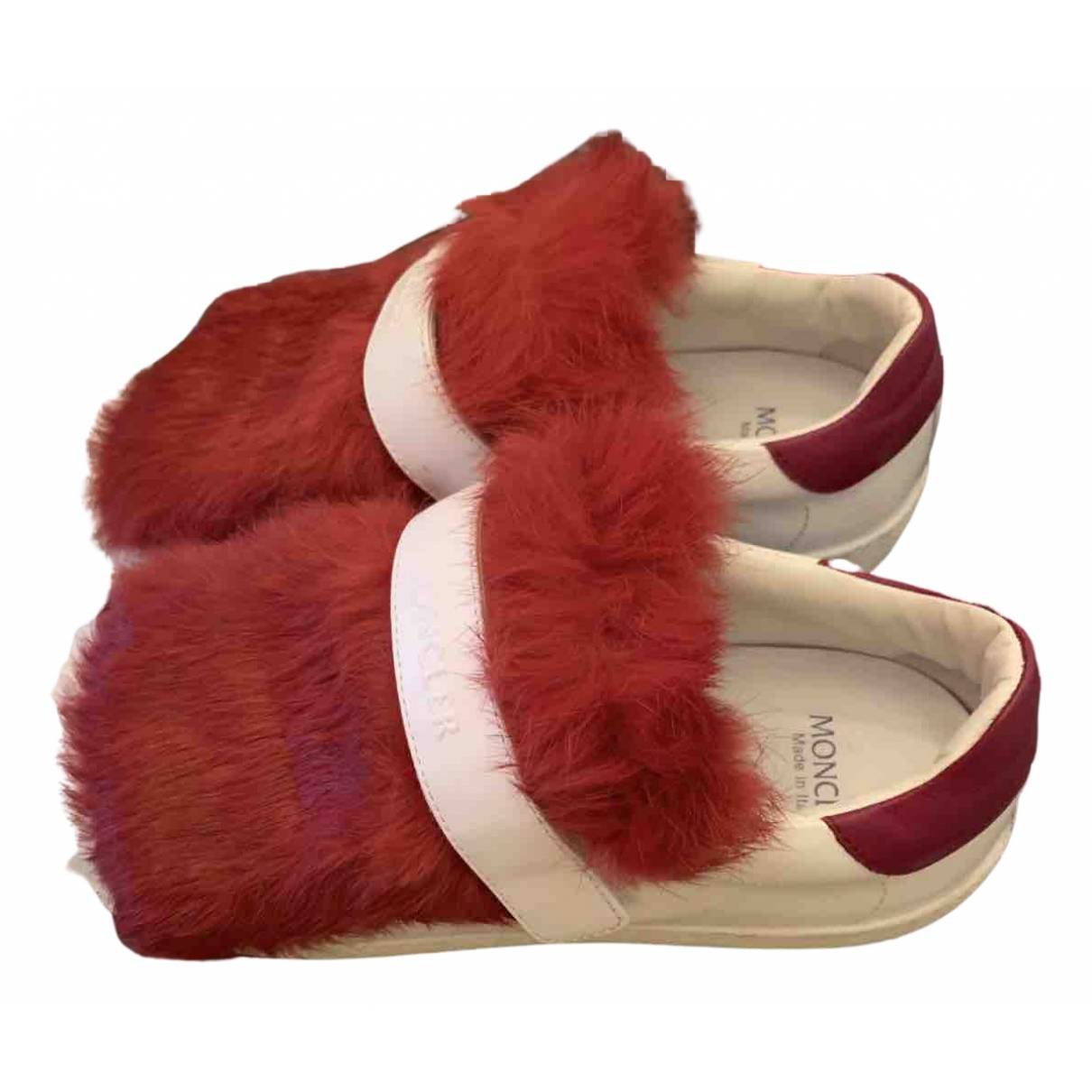 Moncler \N Sneakers in  Rot Synthetikpelz