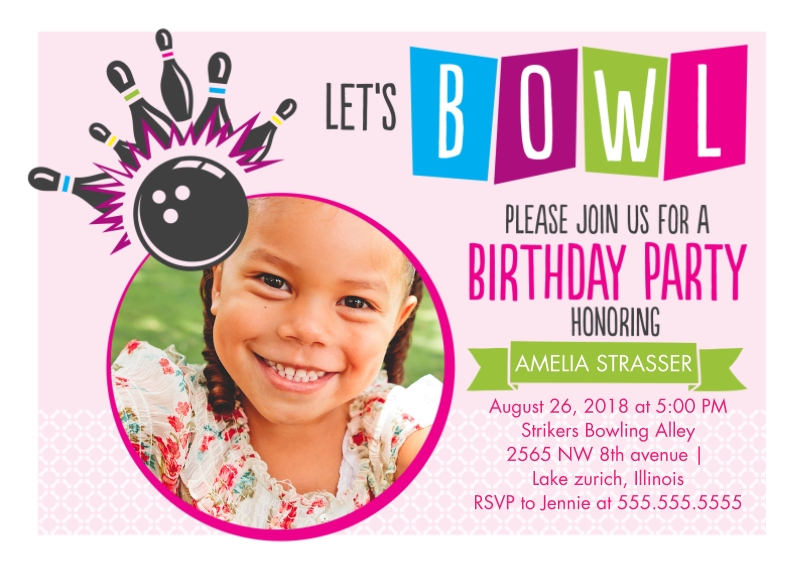 Kids Birthday Party Invites Flat Glossy Photo Paper Cards with Envelopes, 5x7, Card & Stationery -Let's Bowl! Birthday Invitation