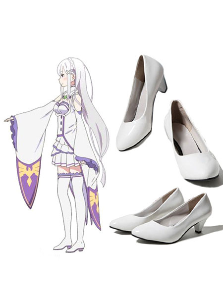 Milanoo Re:Zero Starting Life In Another World Emilia Cosplay Shoes Halloween