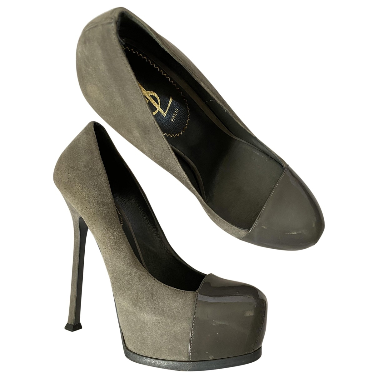 Yves Saint Laurent Trib Too Pumps in  Grau Veloursleder
