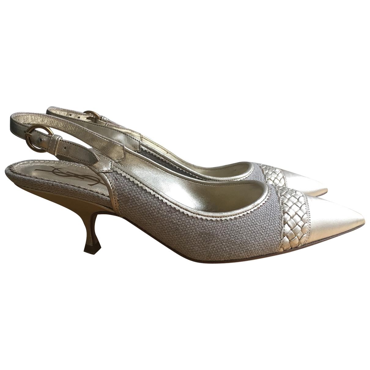 Yves Saint Laurent - Escarpins   pour femme en cuir - dore