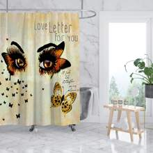 Butterfly Print Shower Curtain With 12hooks