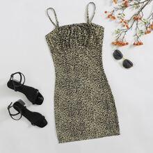 Tie Neck Ruched Bust Leopard Slip Dress