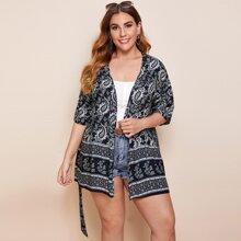 Plus Paisley Print Belted Kimono