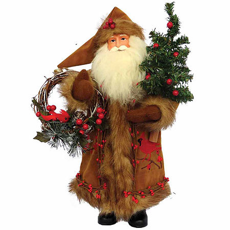 Hand Painted Santa Figurine, One Size , Brown