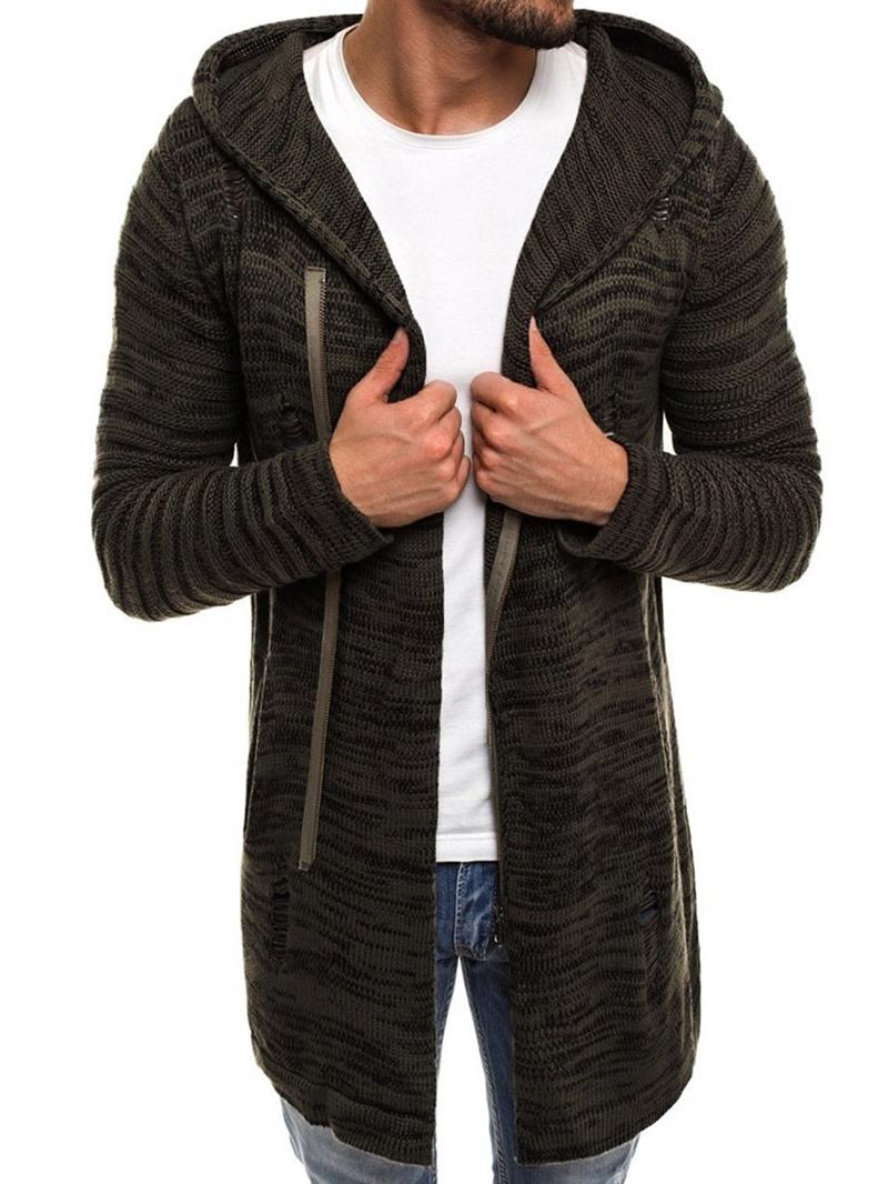 Ericdress Mid-Length Plain Hooded Straight Men's Sweater