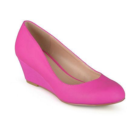 Journee Collection Womens Dolup-Wd Pumps Wedge Heel, 7 Medium, Pink