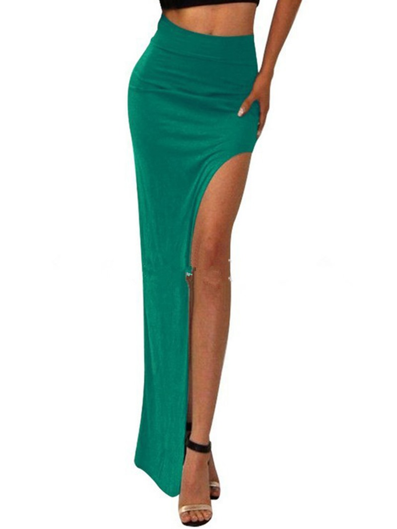 Ericdress Solid Color Split Maxi Skirt