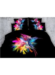 3D Colorful Hummingbird Printed Cotton 5-Piece Black Comforter Sets
