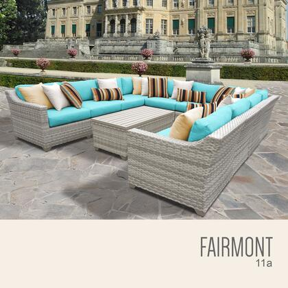 FAIRMONT-11a-ARUBA Fairmont 11 Piece Outdoor Wicker Patio Furniture Set 11a with 2 Covers: Beige and