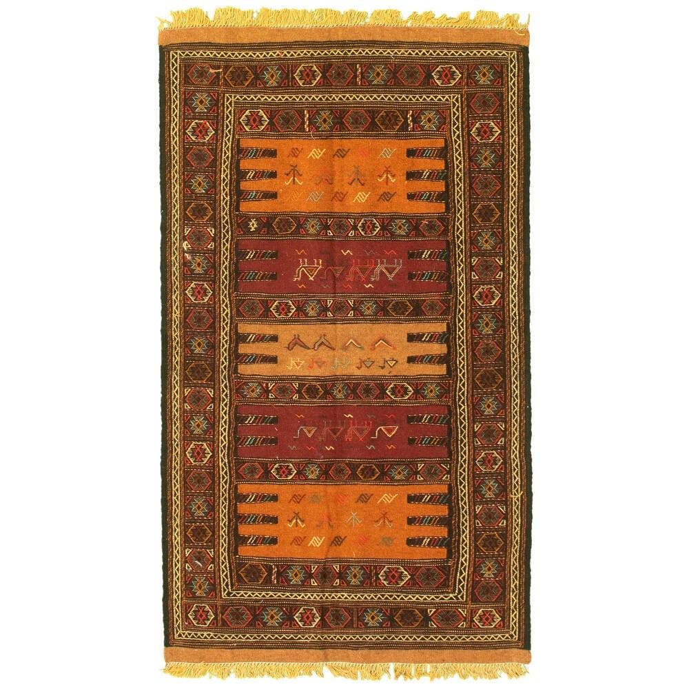 ECARPETGALLERY Flat-weave Ottoman Natura Red Wool Kilim - 3'2 x 5'6 (Red - 3'2 x 5'6)