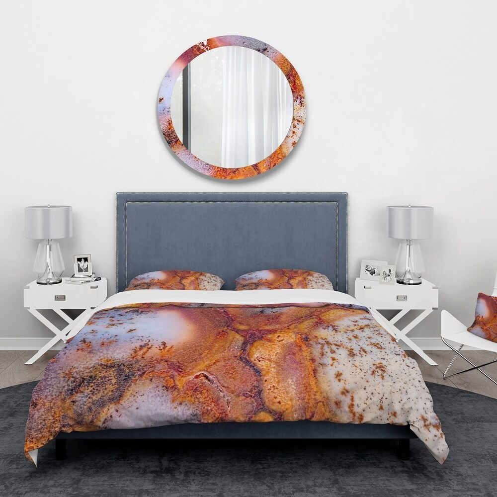Designart 'Moss Agate with crack' Stone Bedding Set - Duvet Cover & Shams (Twin Cover + 1 sham (comforter not included))