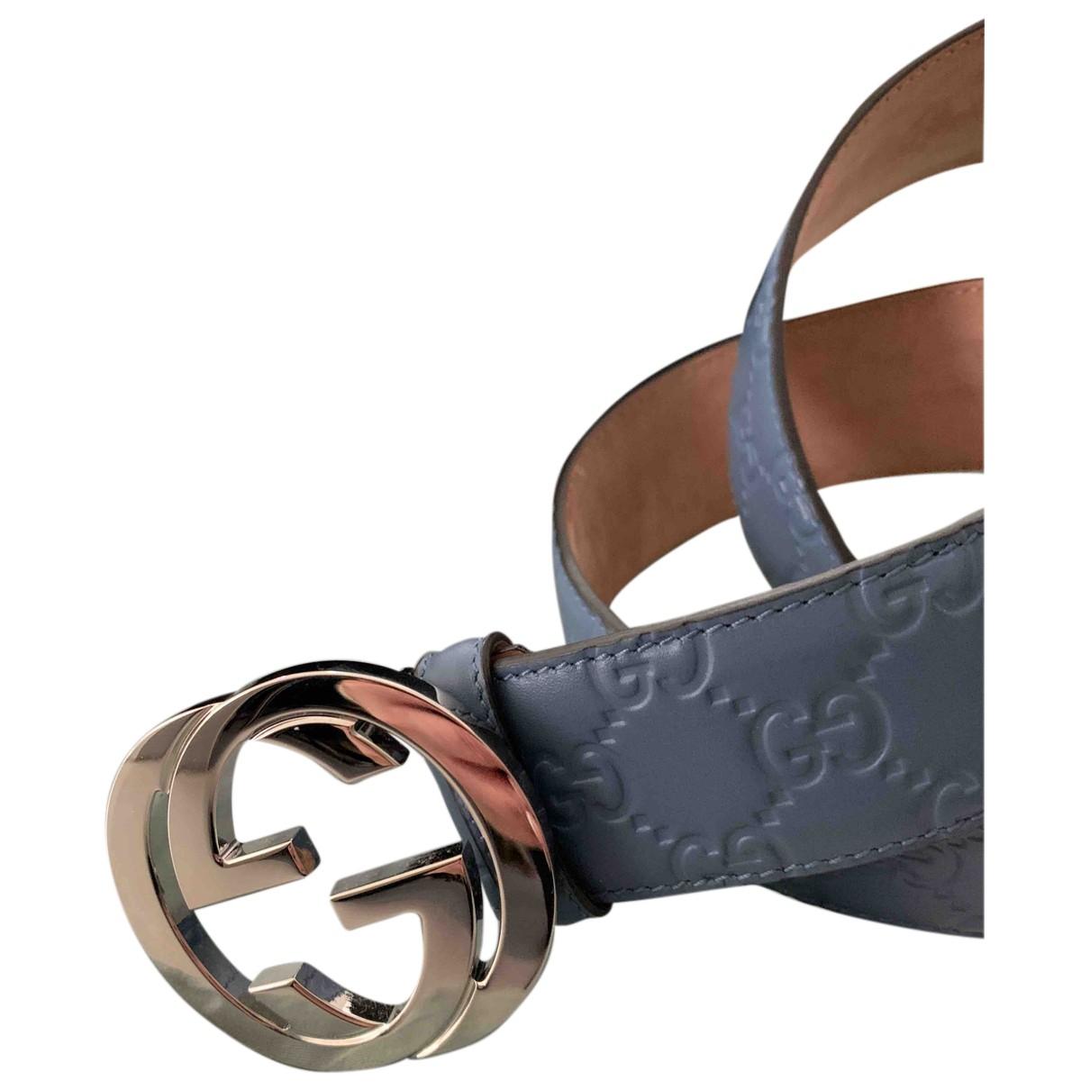 Gucci Interlocking Buckle Blue Leather belt for Women 95 cm