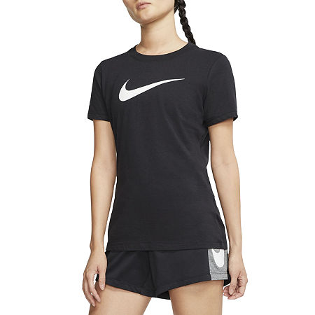 Nike Womens Crew Neck Short Sleeve Graphic T-Shirt, Small , Black