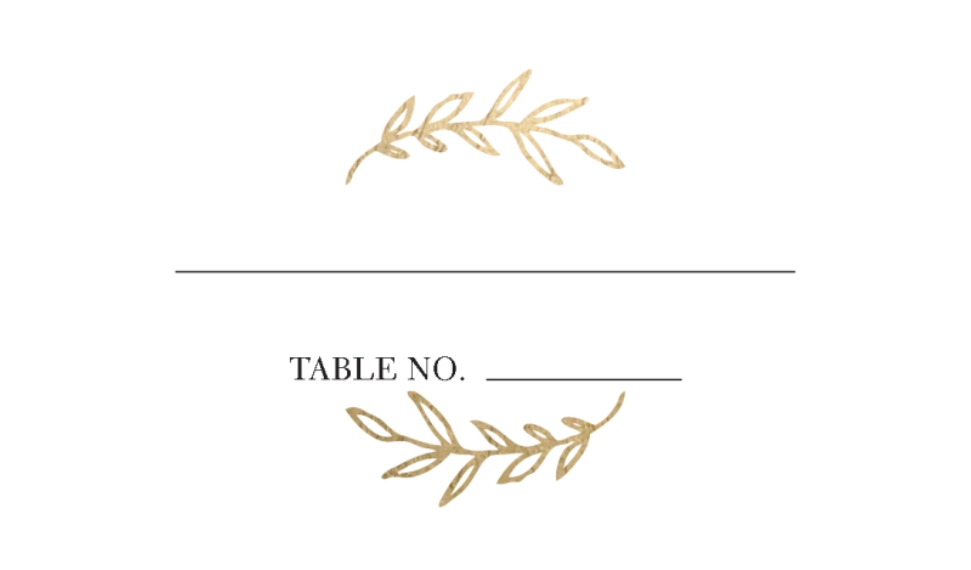 Placecards Business Cards, Set of 40, Card & Stationery -Wedding Place Card Gold Half Wreath by Tumbalina