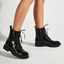 Patent Lace-up Front Side Zip Ankle Boots