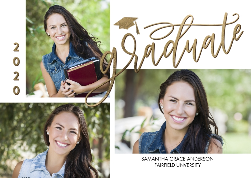 2020 Graduation Announcements 5x7 Cards, Standard Cardstock 85lb, Card & Stationery -2020 Graduate Simple Script by Tumbalina