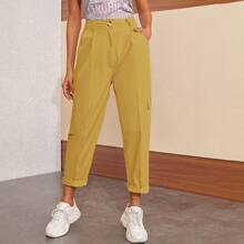 Solid Flap Pocket Tapered Pants