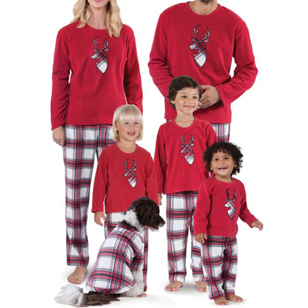 Summer Family Matching Outfits Deer Deer patternl Mommy Daughter Daddy Babies Long Sleeves Pants Parent-Child Clothing