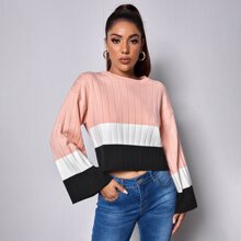 Color Block Flounce Sleeve Rib-knit Sweater