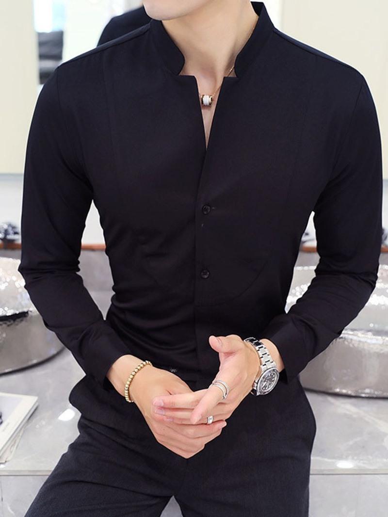 Ericdress Plain Casual Stand Collar Men's Slim Spring Shirt
