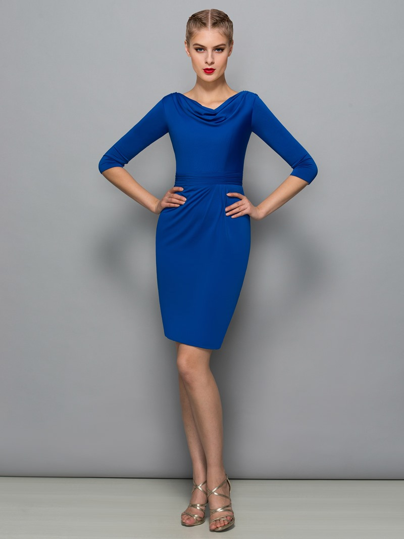 Ericdress Cowl Neck Pleats Sheath Cocktail Dress