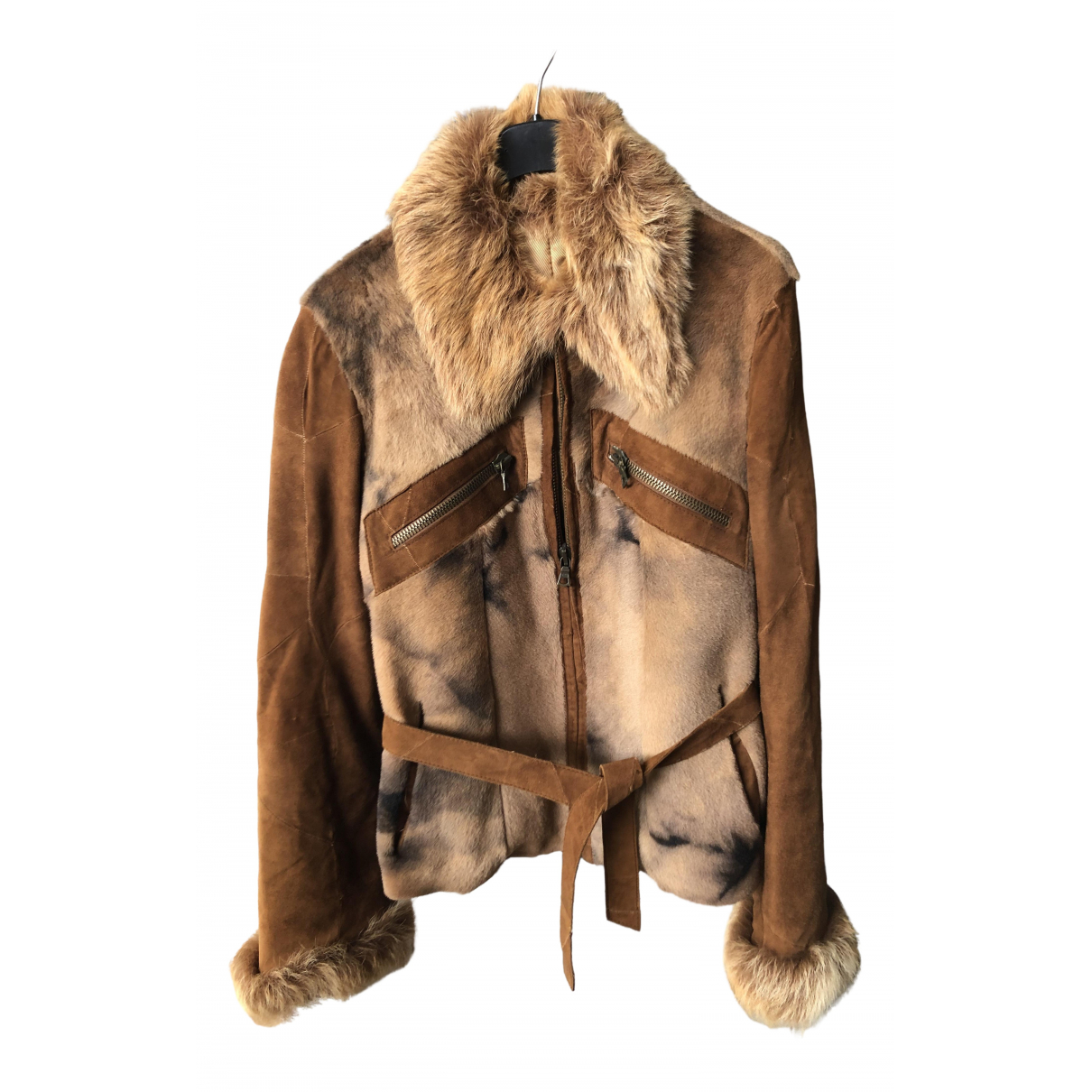 Non Signé / Unsigned N Camel Fox Leather jacket for Women 42 IT